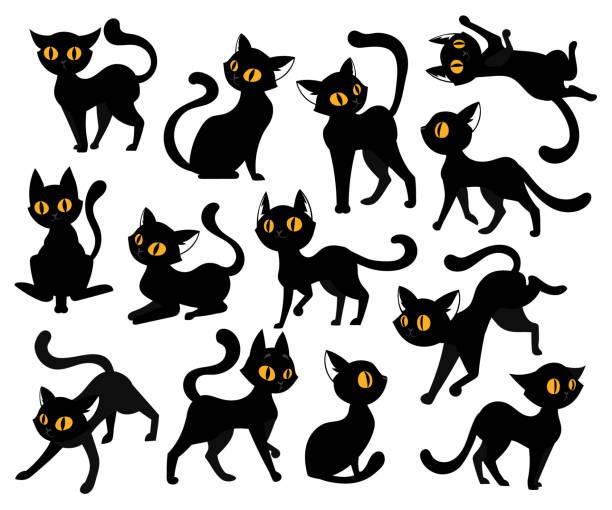 illustrations, cliparts, dessins animés et icônes de concept d'animaux domestiques. un ensemble de chats noirs avec des yeux jaunes dans différentes positions isolées sur le fond blanc. animaux mignons, espiègles et ludiques dans diverses poses. illustration vectorielle de style plat - chat noir