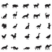 Black domestic animals icon set
