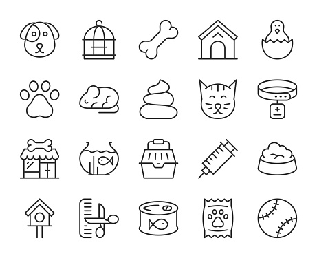 Domestic Animals - Light Line Icons