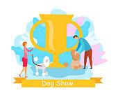 Domestic Animals Show Flat Vector Illustration