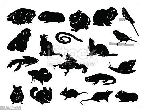 Domestic animals silhouettes