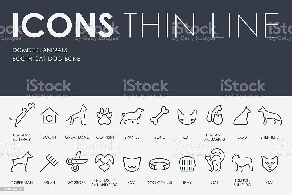 Domestic Animals Thin Line Icons vector art illustration