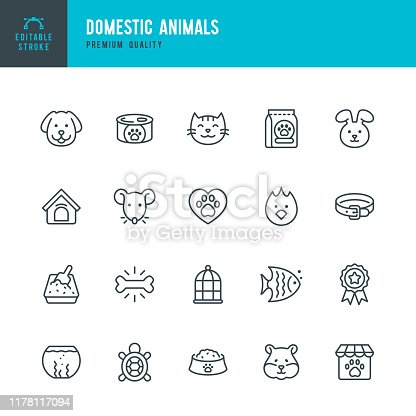 Domestic Animals - thin line vector icon set. Editable stroke. Pixel Perfect. Set contains such icons as Dog, Cat, Pets, Bird, Fish, Hamster, Mouse, Rabbit, Pet Food, Pet Shop, Birdcage.