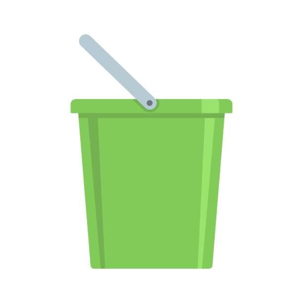 Domestic bucket icon, flat style vector art illustration