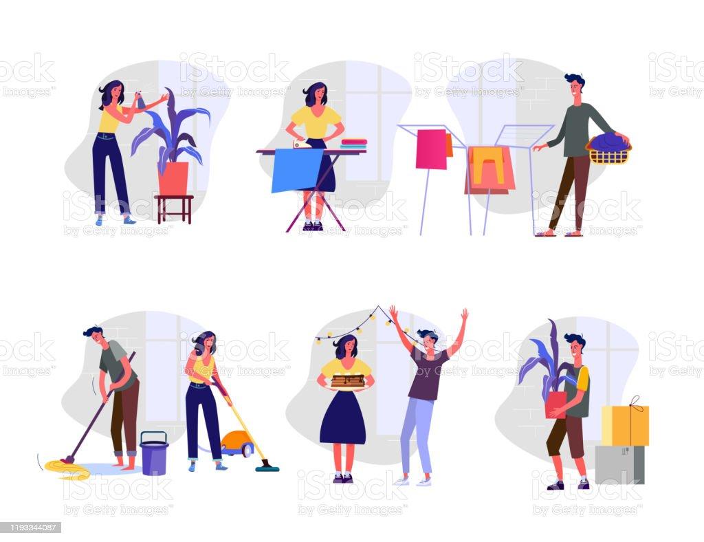 Huishoudelijke zorgen set - Royalty-free Banner vectorkunst