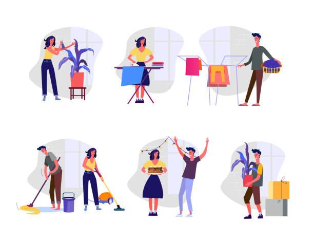 stockillustraties, clipart, cartoons en iconen met huishoudelijke zorgen set - vrouw schoonmaken
