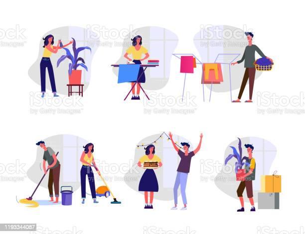Huishoudelijke Zorgen Set Stockvectorkunst en meer beelden van Banner