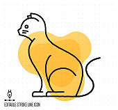 Hand drawn doodle icon for domestic cat to use as vector design element. Minimalistic symbol made in the style of editable line illustration.