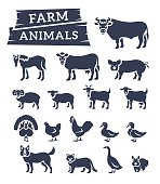 Domestic farm animals flat silhouettes vector icons