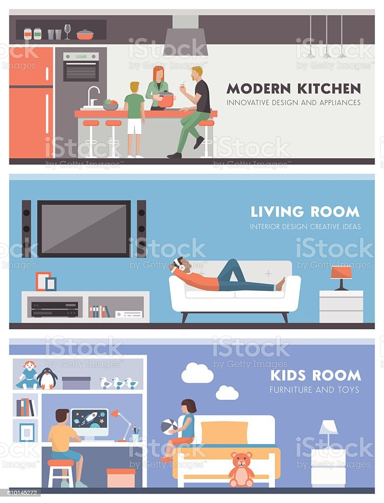 Domestic life banner set vector art illustration