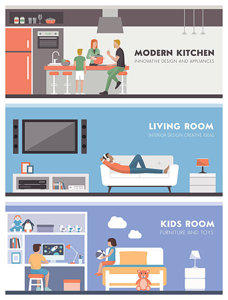illustrazioni stock, clip art, cartoni animati e icone di tendenza di domestic life banner set - kitchen situations