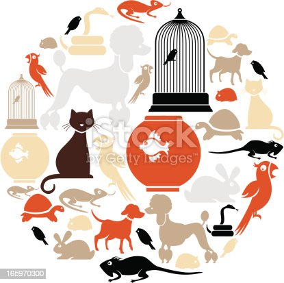 A set of pet icons. Click below for more animal images.
