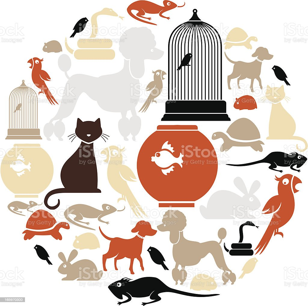 Domestic Pets Icon Set vector art illustration