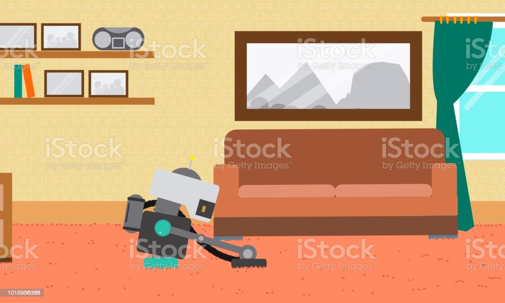 Domestic Robot cleaning carpet in the living room. vector art illustration