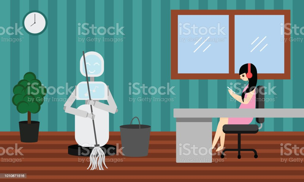 Domestic robot cleaning in a room while woman is relaxing and listening music. vector art illustration