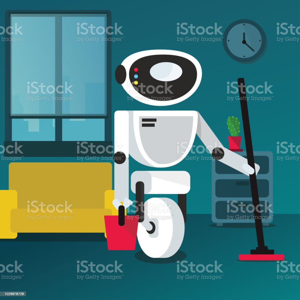 Domestic robot cleaning in a room with a mop and bucket in hand. vector art illustration