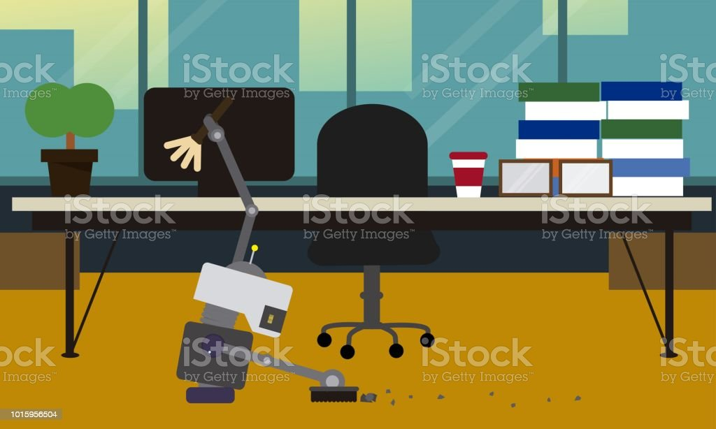 Domestic robot cleaning office room. vector art illustration