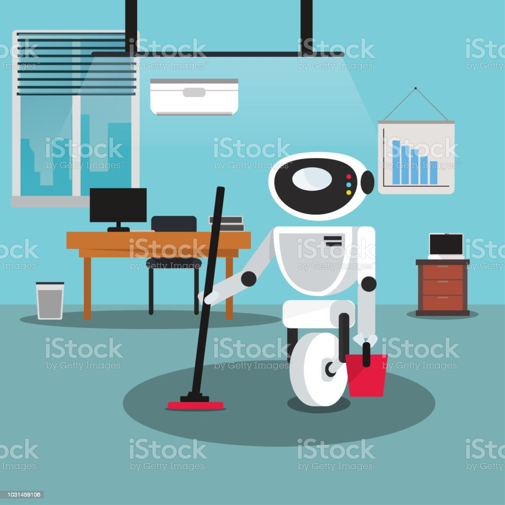 Domestic robot cleaning office room with a mop and bucket in hand. vector art illustration