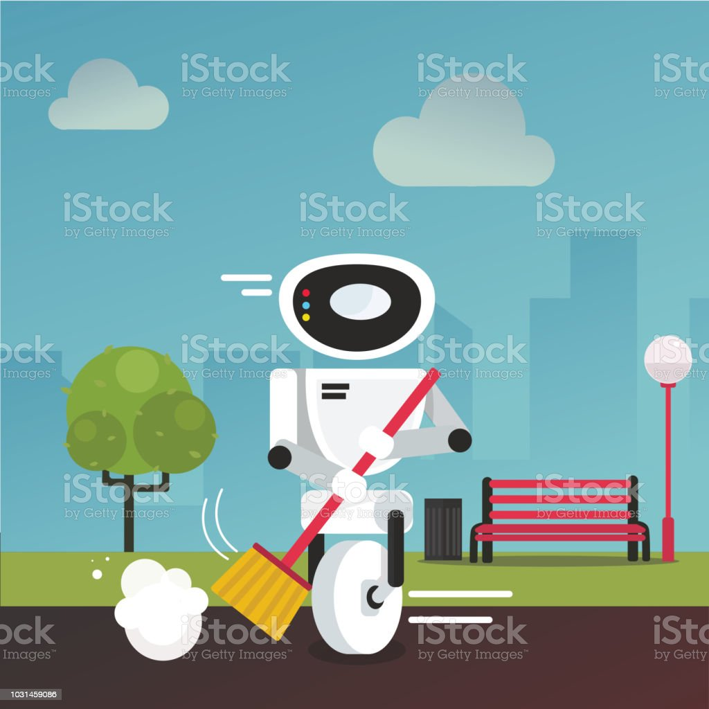Domestic robot cleaning park alley with a broom in hand. vector art illustration
