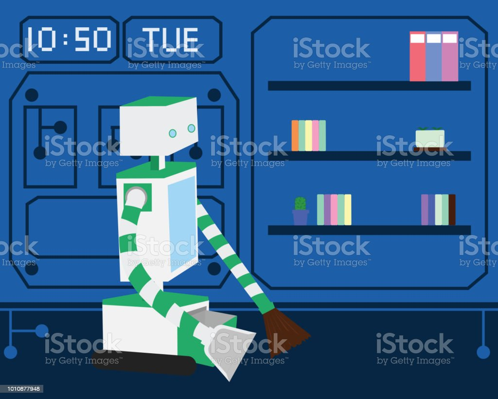 Domestic Robot cleaning the room and carpet in modern home. vector art illustration