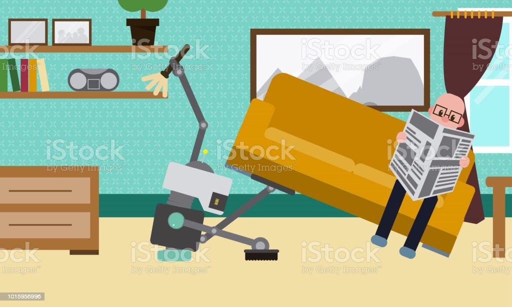 Domestic Robot cleaning the room and carpet while man resting on sofa reading newspaper. vector art illustration