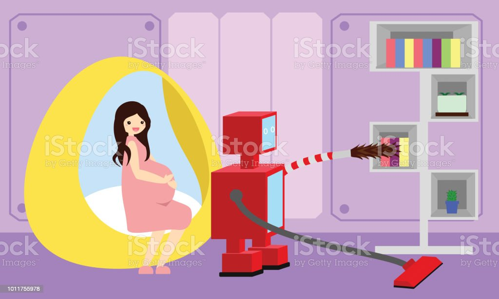 Domestic Robot cleaning the room and carpet while pregnant woman resting on modern round bed. vector art illustration