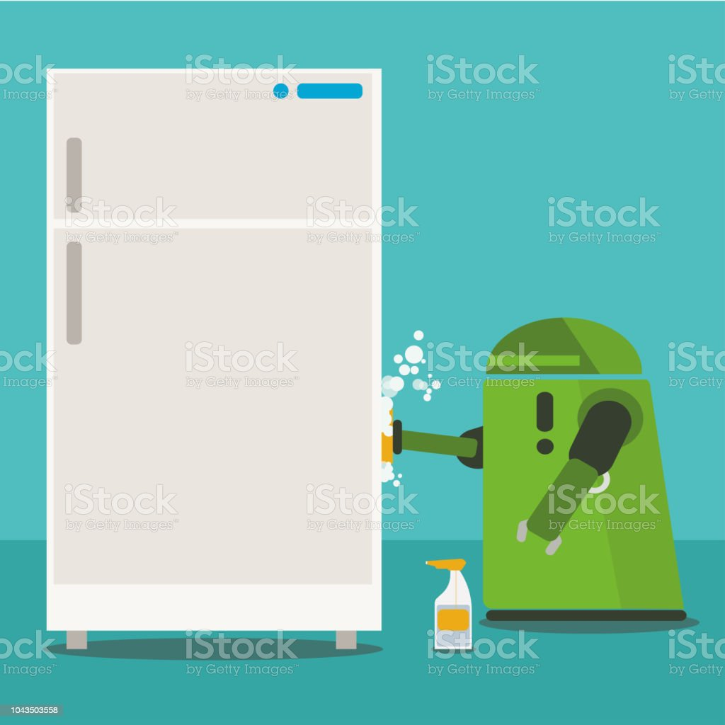 Domestic Robot cleaning white refrigerator with sponge and spray. vector art illustration
