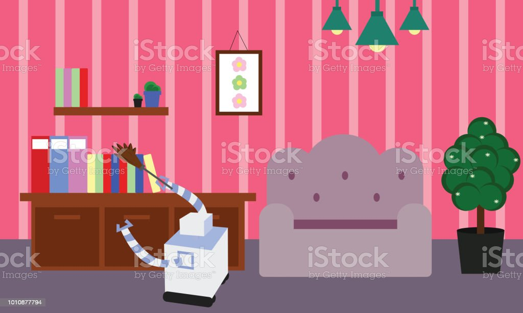 Domestic robot doing cleaning and dusting in a room. vector art illustration