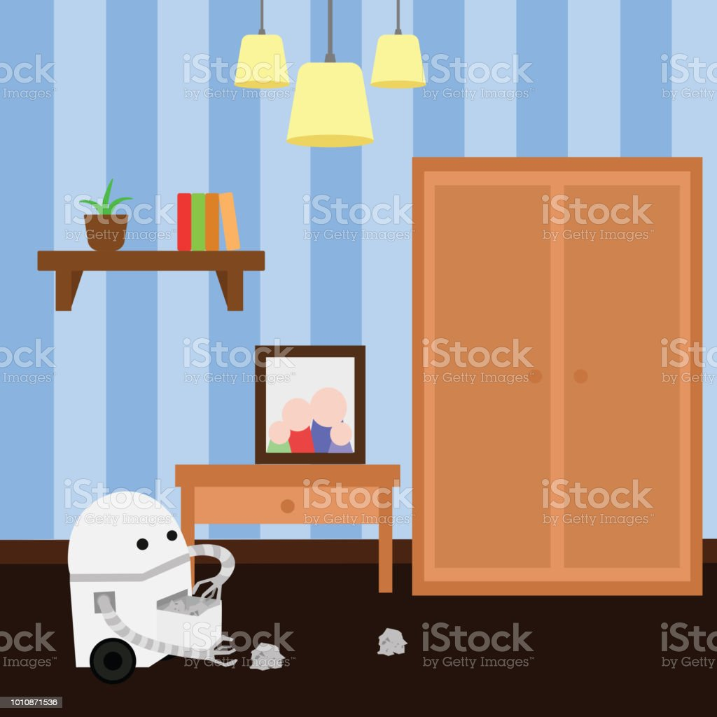 Domestic robot doing cleaning in a room collecting clutter. vector art illustration