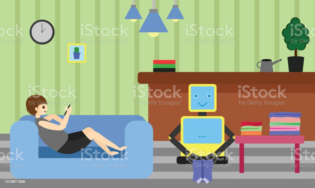 Domestic Robot folding the clothes while young man resting on sofa using his smartphone. vector art illustration