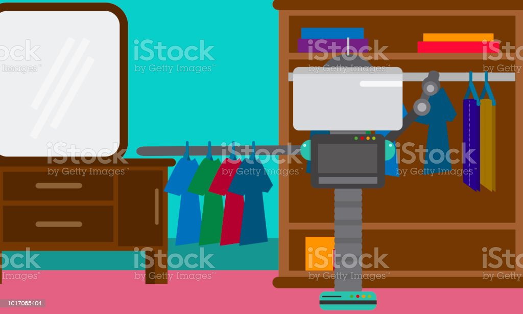 Domestic Robot hanging clothes on hangers in a closet. vector art illustration