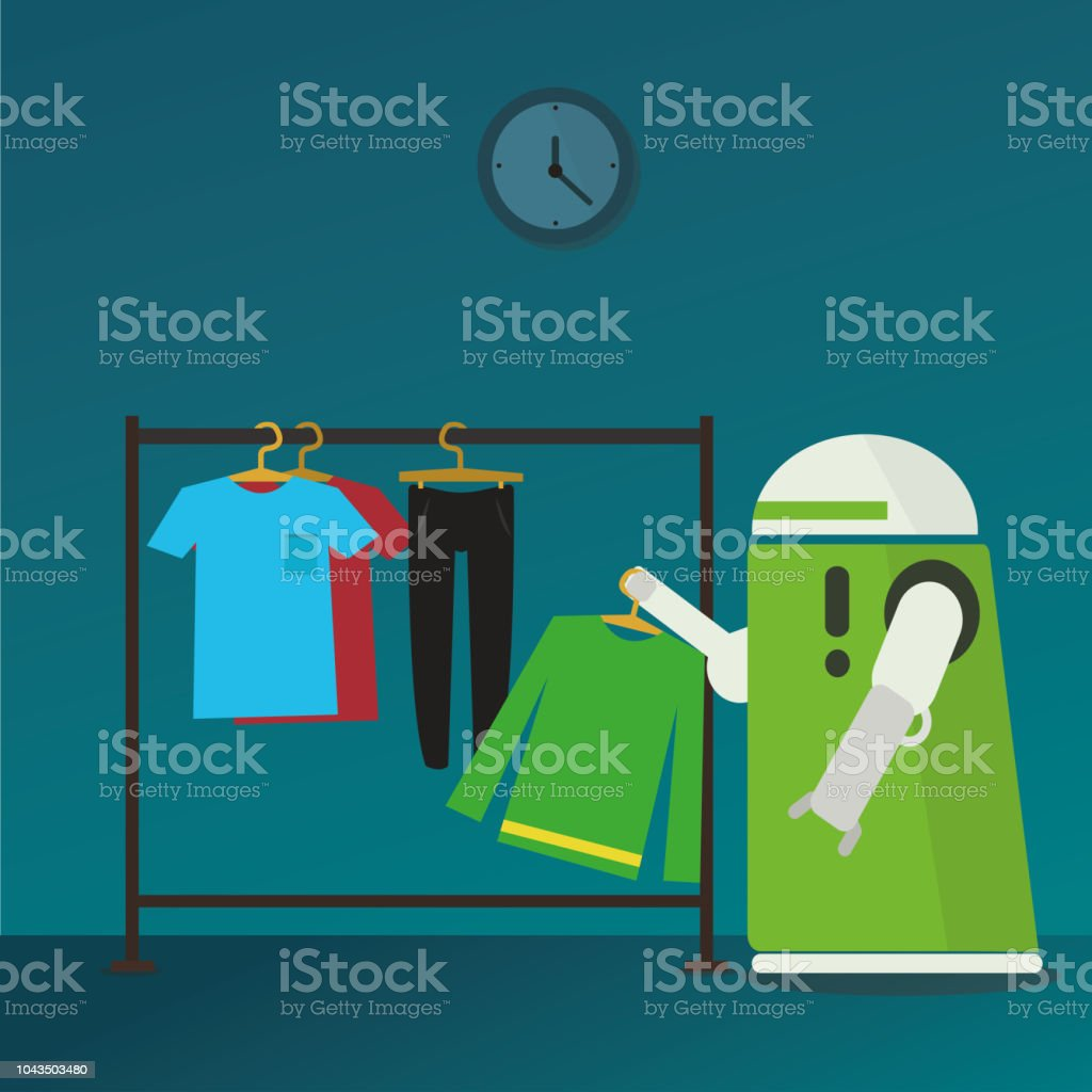Domestic Robot hanging clothes on hangers in stand. vector art illustration
