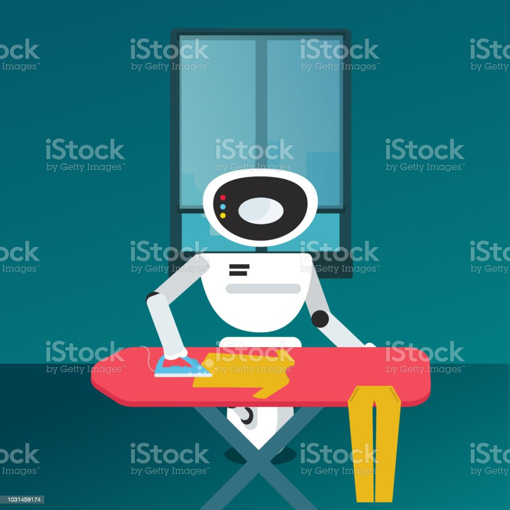 Domestic Robot ironing clothes. vector art illustration