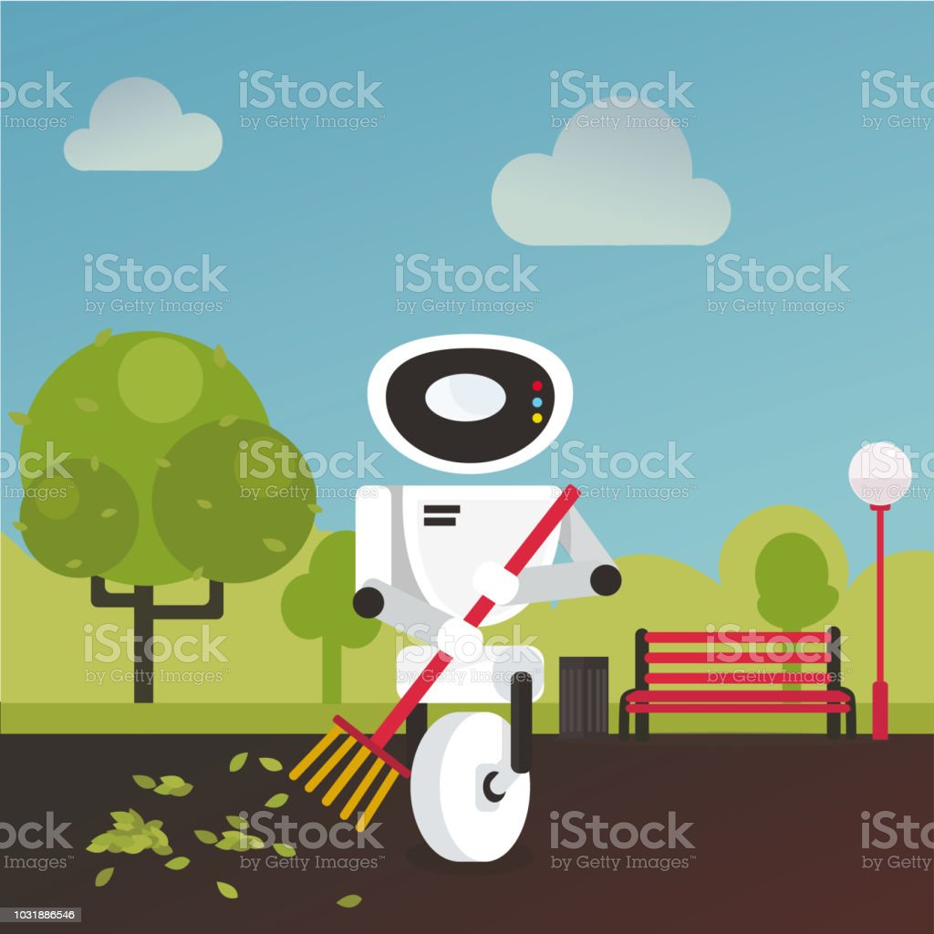 Domestic robot raking fall leaves in the garden with a broom in hand. vector art illustration