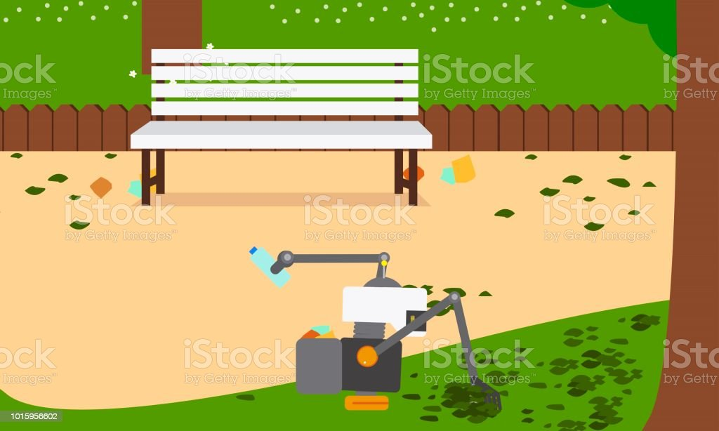 Domestic robot sweeping the autumn leaves on a green lawn. vector art illustration