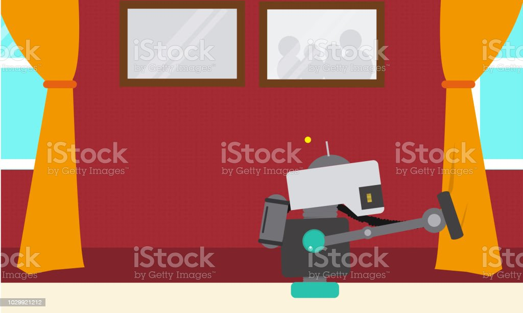Domestic Robot vacuum cleaning the curtains at window. vector art illustration