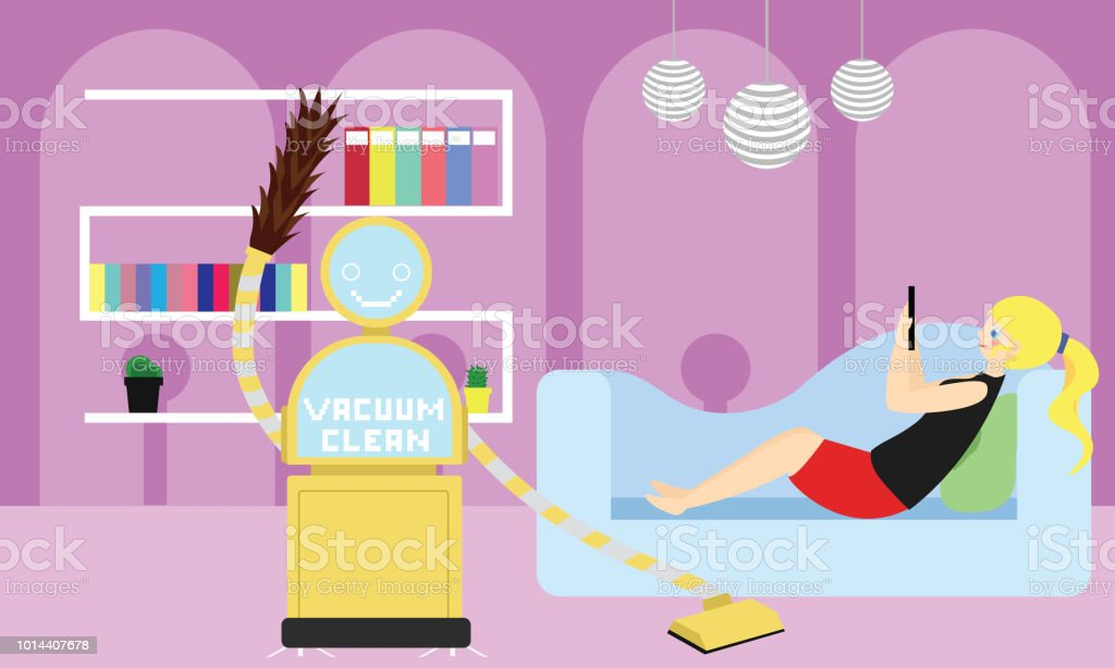 Domestic Robot vacuum cleaning the room and carpet while young woman resting on sofa using her smartphone. vector art illustration