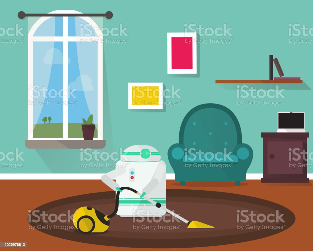 Domestic Robot vacuum cleaning the room. vector art illustration