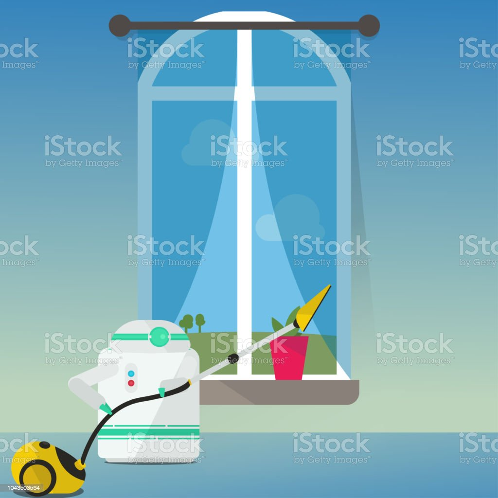 Domestic Robot vacuum cleaning the sheer curtains at window. vector art illustration