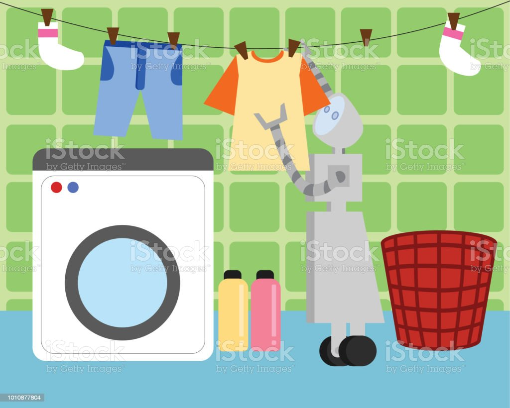 Domestic Robot washing and hanging clothes to dry. vector art illustration