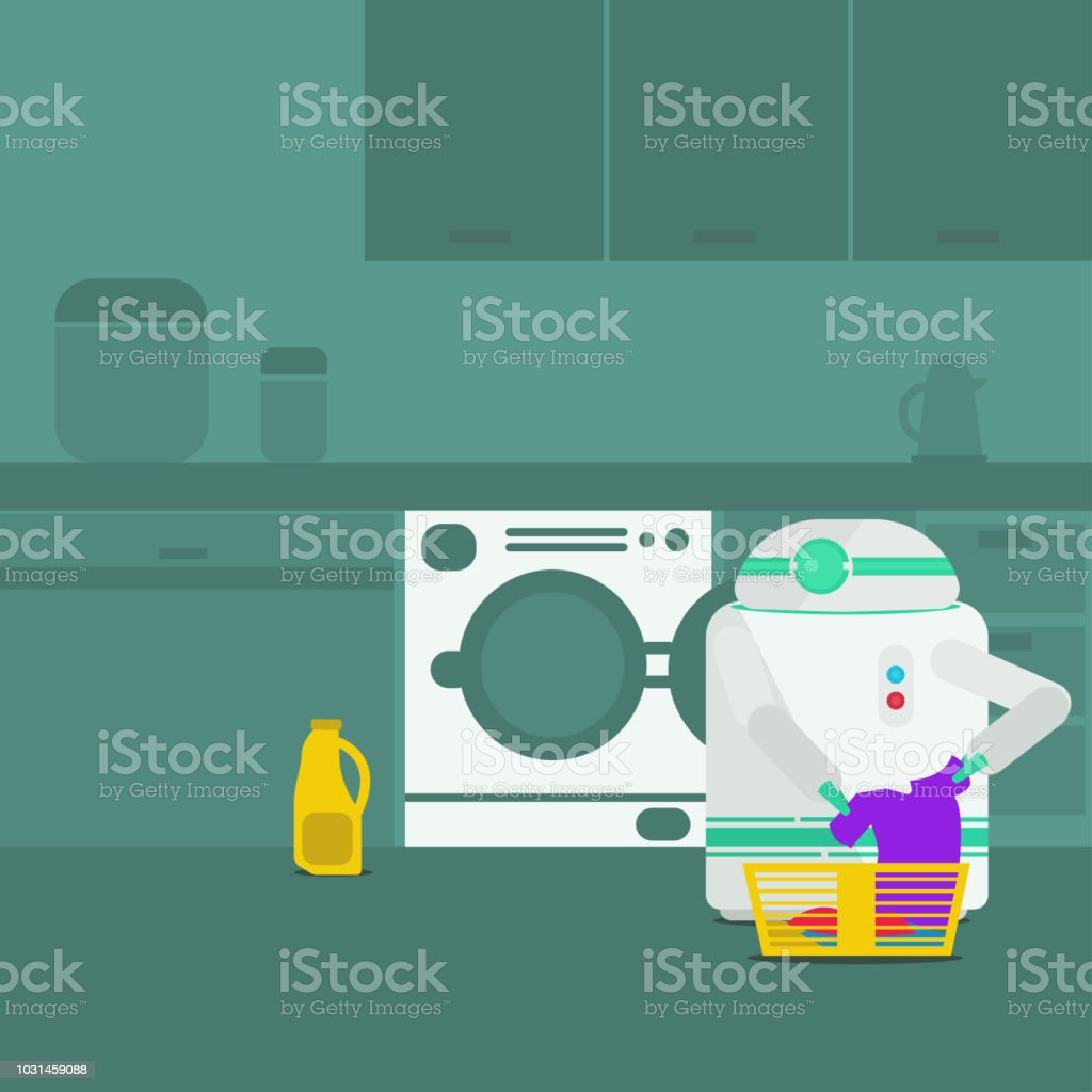 Domestic Robot washing clothes. vector art illustration