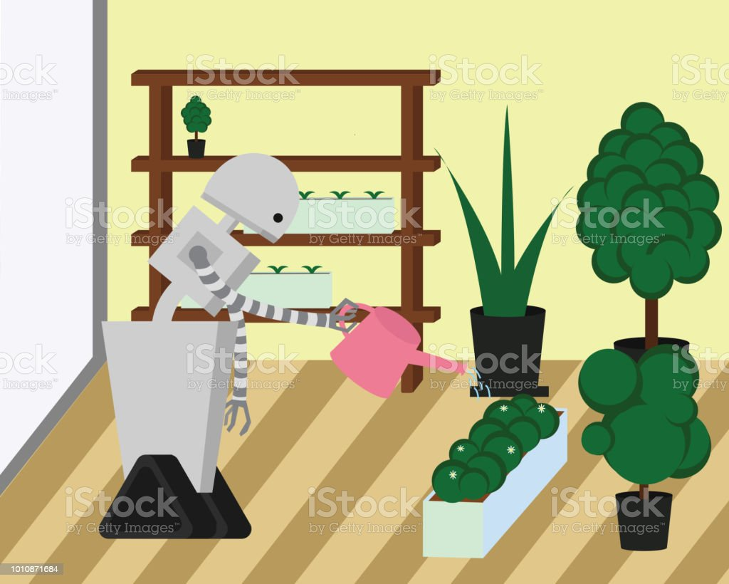 Domestic robot watering plants at home garden. Robot housekeeper with watering can in arm. vector art illustration