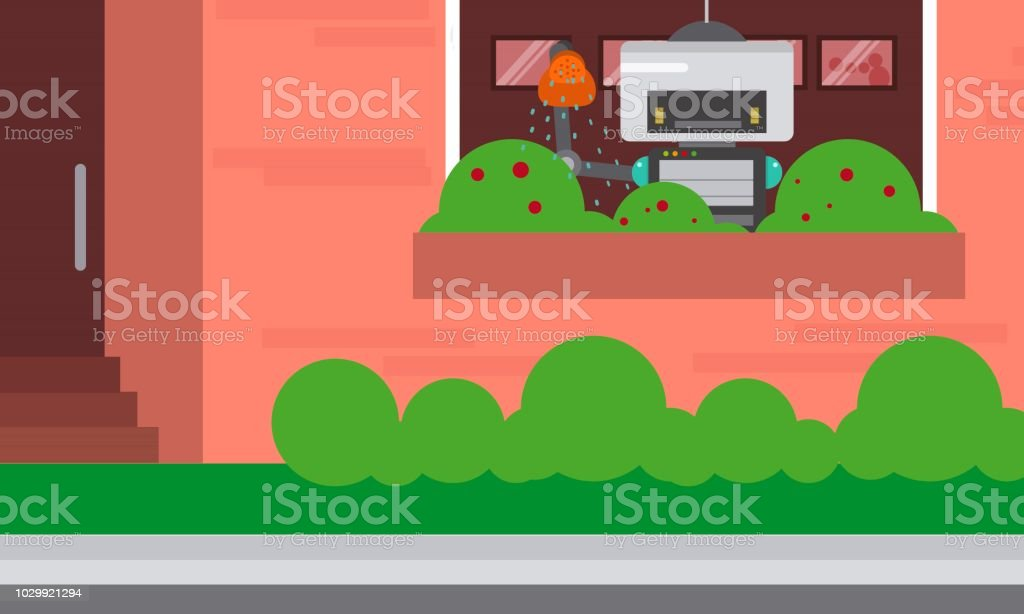 Domestic robot watering plants at window. Robot housekeeper with watering can in arm. vector art illustration