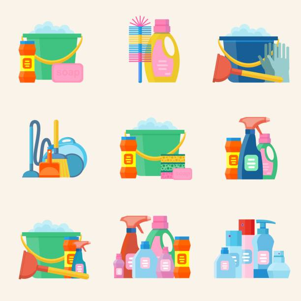 domestic tools for cleaning on the white - disinfectant stock illustrations