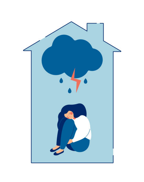 domestic violence against women concept. - domestic violence stock illustrations