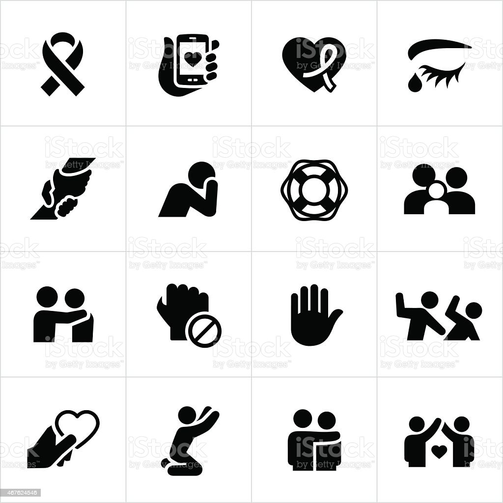 Domestic Violence and Abuse Awareness Icons vector art illustration