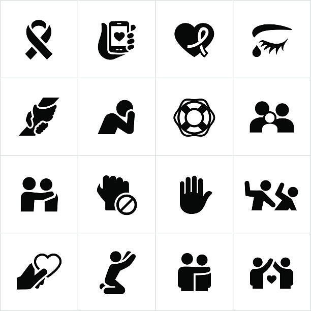 domestic violence and abuse awareness icons - domestic violence stock illustrations