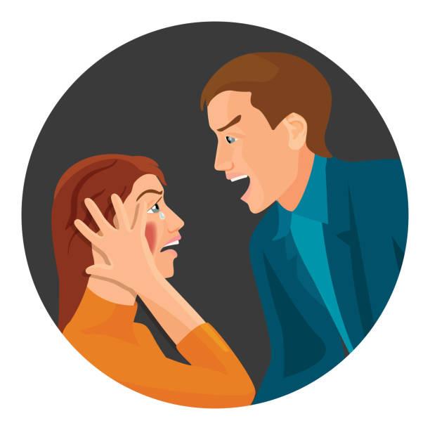 häusliche gewalt zwischen ehepaar, die kampf hat - vertrauensbruch stock-grafiken, -clipart, -cartoons und -symbole