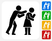 Domestic Violence Icon Flat Graphic Design