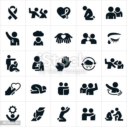 A set of domestic violence icons. The icons include abuse and domestic violence as well as hope for victims of such abuse.